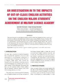 An investigation in to the impacts of out-Of-class english activities on the english major students' achievement at military science academy
