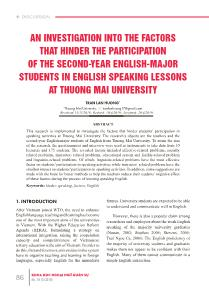 An investigation into the factors that hinder the participation of the second-Year english-major students in english speaking lessons at thuong mai university