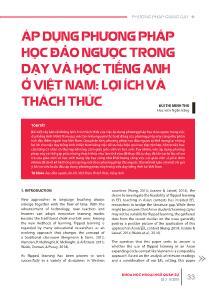 Áp dụng phương pháp học đảo ngược trong dạy và học Tiếng Anh ở Việt Nam: Lợi ích và thách thức