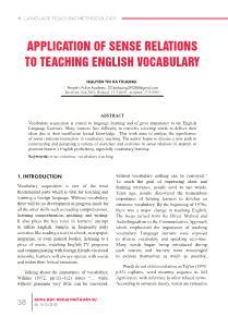 Application of sense relations to teaching english vocabulary