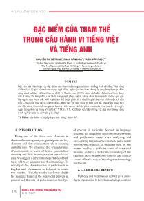 Đặc điểm của tham thể trong câu hành vi tiếng Việt và tiếng Anh