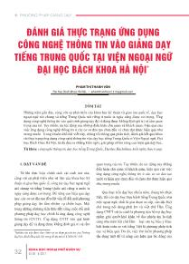 Đánh giá thực trạng ứng dụng công nghệ thông tin vào giảng dạy tiếng trung quốc tại viện ngoại ngữ đại học bách khoa Hà Nội