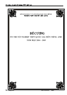 Đề cương môn Tiếng Anh - Ôn thi Tốt nghiệp THPT Quốc gia - Năm học 2014-2015 - Trường THPT Nguyễn Hữu Cảnh