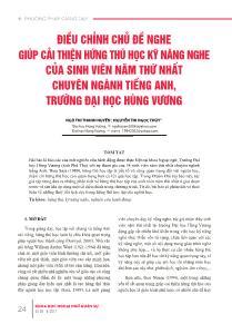 Điều chỉnh chủ đề nghe giúp cải thiện hứng thú học kỹ năng nghe của sinh viên năm thứ nhất chuyên ngành tiếng anh, trường đại học Hùng Vương