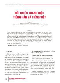 Đối chiếu thanh điệu tiếng Hán và Tiếng Việt