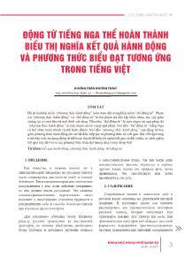 Động từ tiếng nga thể hoàn thành biểu thị nghĩa kết quả hành động và phương thức biểu đạt tương ứng trong Tiếng Việt