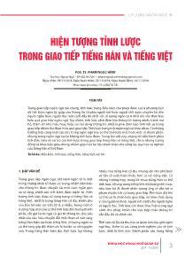 Hiện tượng tỉnh lược trong giao tiếp Tiếng Hán và Tiếng Việt