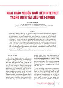 Khai thác nguồn ngữ liệu internet trong dịch tài liệu Việt - Trung