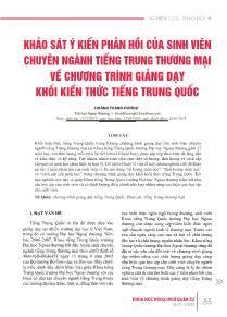 Khảo sát ý kiến phản hồi của sinh viên chuyên ngành Tiếng Trung thương mại về chương trình giảng dạy khối kiến thức tiếng Trung Quốc