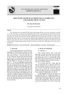 Một số bài tập đề xuất nhằm nâng cao hiệu quả cho giờ học dịch văn bản