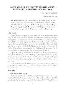 Một số biện pháp giúp sinh viên hứng thú với môn Tiếng Trung tại trường Đại học Nha Trang