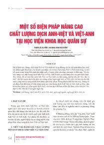 Một số biện pháp nâng cao chất lượng dịch Anh - Việt và Việt - Anh tại học viện khoa học quân sự