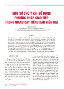 Một số chú ý khi sử dụng phương pháp giao tiếp trong giảng dạy tiếng Hán hiện đại