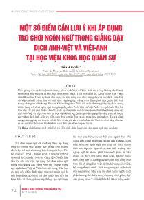 Một số điểm cần lưu ý khi áp dụng trò chơi ngôn ngữ trong giảng dạy dịch Anh-Việt và Việt-Anh tại học viện khoa học quân sự