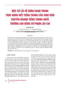 Một số lỗi về dựng đoạn trong thực hành viết tiếng Trung của sinh viên chuyên ngành tiếng Trung Quốc trường cao đẳng sư phạm Lào Cai