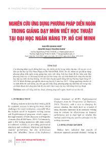 Nghiên cứu ứng dụng phương pháp diễn ngôn trong giảng dạy môn Viết học thuật tại Đại học ngân hàng TP Hồ Chí Minh