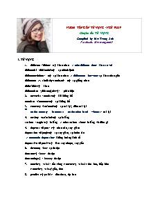 Nhóm tổng ôn từ vựng - ngữ pháp môn Tiếng Anh - Chuyên đề: Từ vựng - Trang Anh