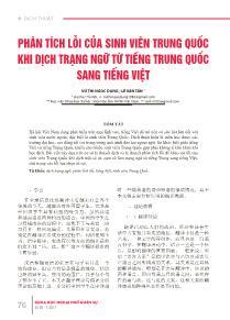 Phân tích lỗi của sinh viên trung quốc khi dịch trạng ngữ từ tiếng Trung Quốc sang Tiếng Việt