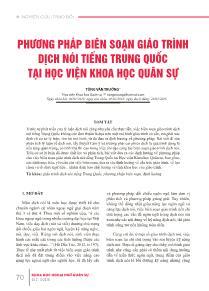 Phương pháp biên soạn giáo trình dịch nói tiếng Trung Quốc tại học viện khoa học quân sự