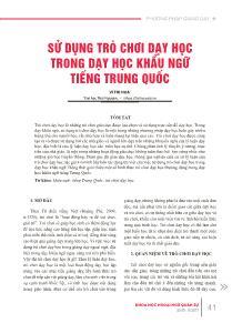 Sử dụng trò chơi dạy học trong dạy học khẩu ngữ tiếng Trung Quốc