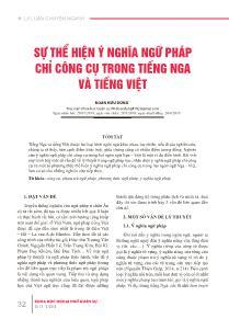 Sự thể hiện ý nghĩa ngữ pháp chỉ công cụ trong Tiếng Nga và Tiếng Việt