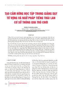 Tạo cảm hứng học tập trong giảng dạy từ vựng và ngữ pháp tiếng Thái Lan cơ sở thông qua trò chơi