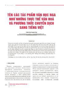 Tên các tác phẩm văn học nga như những thực thể văn hoá và phương thức chuyển dịch sang Tiếng Việt