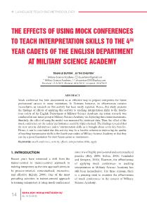 The effects of using mock conferences to teach interpretation skills to the 4th year cadets of the english department at military science academy