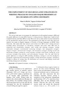 The employment of self-Regulated strategies in writing process by english-major freshmen at ho chi minh city open university
