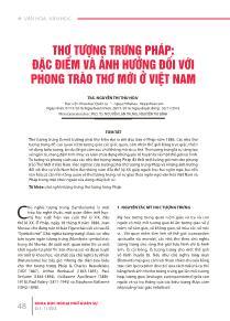 Thơ tượng trưng pháp: đặc điểm và ảnh hưởng đối với phong trào thơ mới ở Việt Nam