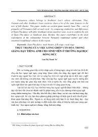 Thực trạng của việc lồng ghép văn hóa trong giảng dạy tiếng Anh cho sinh viên ở trường Đại học Hồng Đức