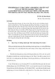 Tình hình dạy và học tiếng Anh không chuyên ngữ của các Trường Đại học Việt Nam & giải pháp nâng cao năng lực tiếng Anh cho sinh viên không chuyên ngữ Trường Đại học Nha Trang