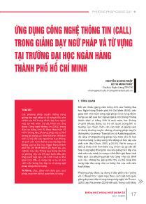 Ứng dụng công nghệ thông tin (call) trong giảng dạy ngữ pháp và từ vựng tại trường đại học ngân hàng thành phố Hồ Chí Minh