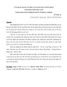 Ứng dụng mạng xã hội vào giảng dạy Tiếng Pháp cho sinh viên Việt Nam