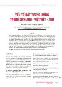 Yếu tố bất tương xứng trong dịch Anh - Việt/Việt - Anh