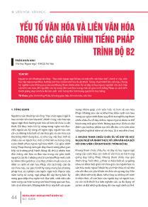 Yếu tố văn hóa và liên văn hóa trong các giáo trình Tiếng Pháp trình độ B2