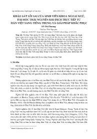 Khảo sát lỗi sai của sinh viên khoa ngoại ngữ, đại học Thái Nguyên khi dịch trực tiếp từ Hán Việt sang tiếng Trung và giải pháp khắc phục