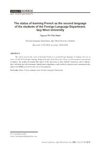The status of learning French as the second language of the students of the Foreign Language Department, Quy Nhon University