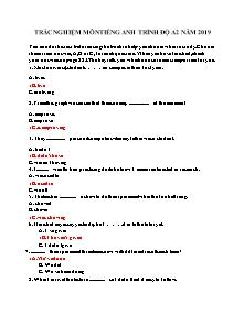 Trắc nghiệm môn Tiếng Anh trình độ A2