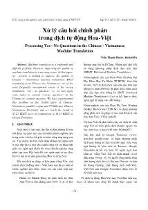 Xử lý câu hỏi chính phản trong dịch tự động Hoa - Việt
