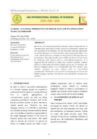 A cross – cultural perspective of speech acts and its application to efl classrooms