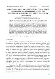 Advantages and challenges of the cefr-Aligned learning outcome implementation for non - English major students at hue university