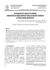 An analysis of linguistic errors committed in translation by english major students at Hung vuong university
