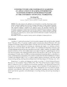 Constructivism and cooperative learning: An application in teaching interpreting to senior students of business english at the university of finance – Marketing