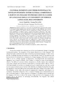 Cultural elements and their potentials to develop students' intercultural competence: A survey on english textbooks used in classes of language skills at university of foreign languages, Hue university