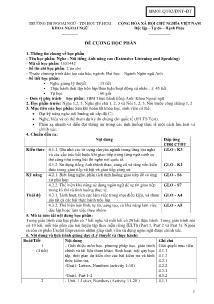 Đề cương học phần - Nghe - Nói tiếng Anh nâng cao (Extensive Listening and Speaking)