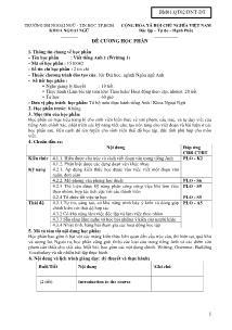 Đề cương học phần - Viết tiếng Anh 1 (Writing 1)