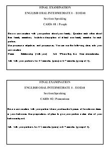 Final examination english oral intermediate 1 – Eoi241 - Section: Speaking