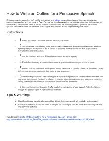 How to write an outline for a persuasive speech