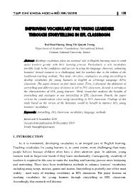 Improving vocabulary for young learenrs through storytelling in efl classroom